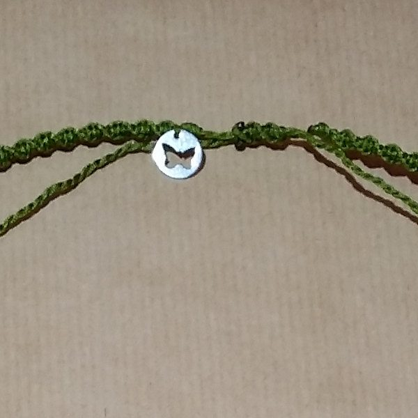 Detalle de mariposa en plata y cierre corredizo, colgante tortuga de Serpentina